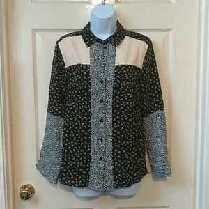 Topshop NWT Floral Colorblock Button Up Blouse